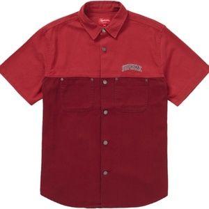 Supreme 2-Tone Denim S/S Shirt Red